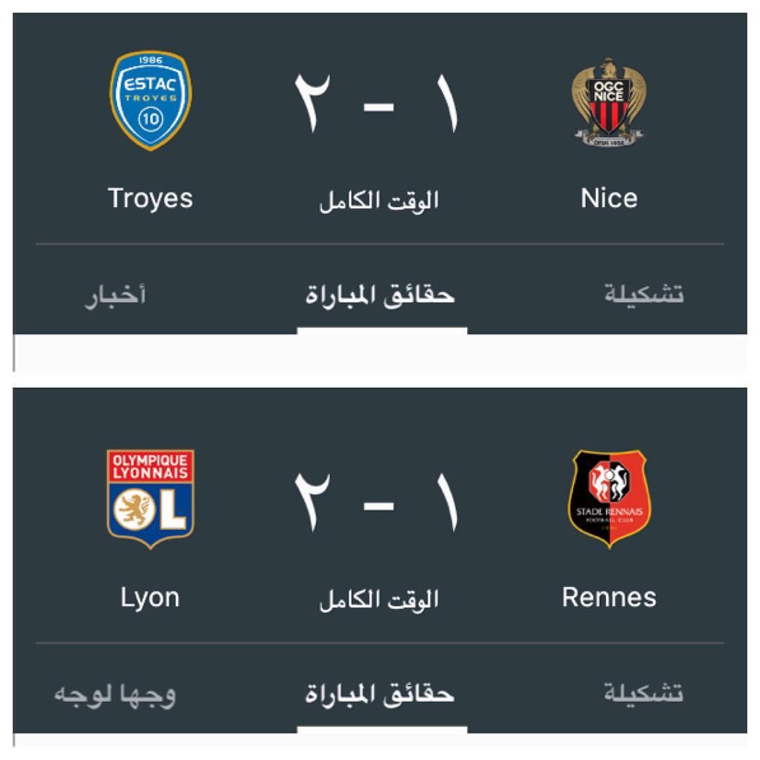 #نتائج مباريات اليوم في #الدوري_الفرنسي  #lyon #nice #france #troyes #rennes pic.twitter.com/fEyBNOqf5e