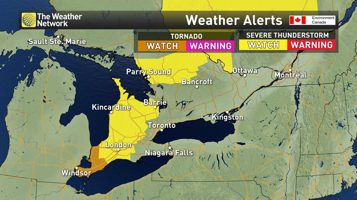 #Tornado watch in effect in SW #Ontario including #Windsor. We are LIVE on @weathernetwork with details. #ONwx<br>http://pic.twitter.com/0DnSiWGArK