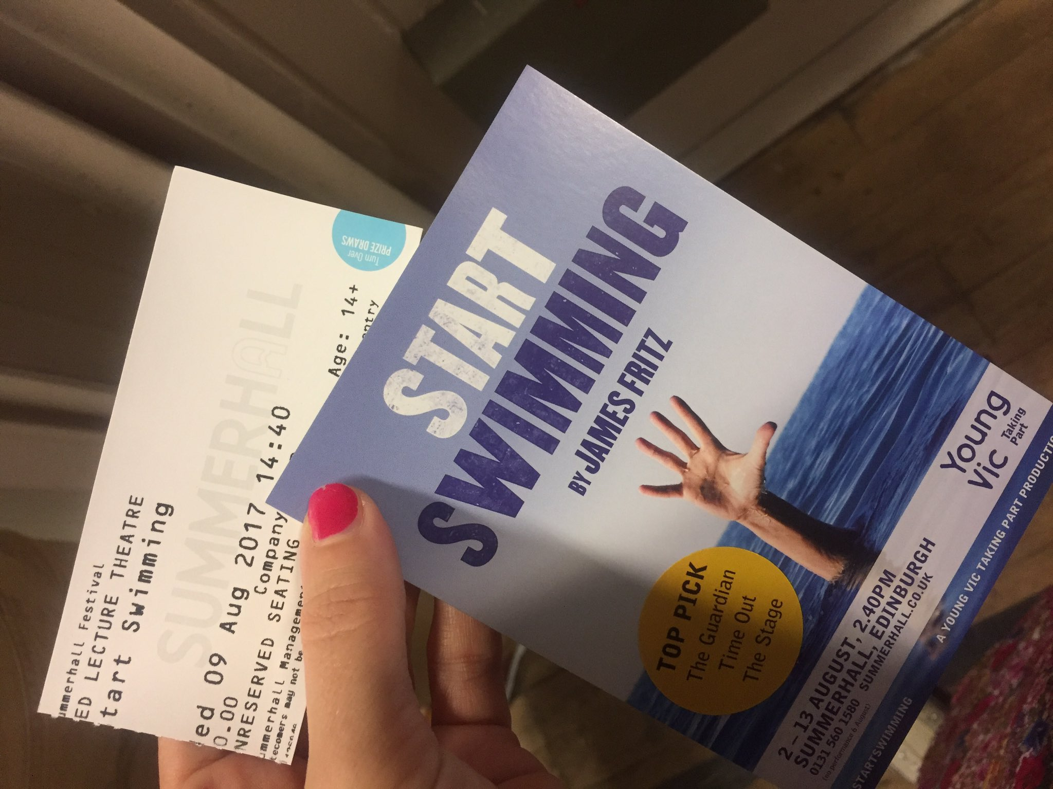 #startswimming #edfest2017 was ace!! Congrats @YVTakingPart . Keen to chat about the rehearsal process. #wypyouth @WYPlayhouse would 💜 it! https://t.co/uRbKePkPKp