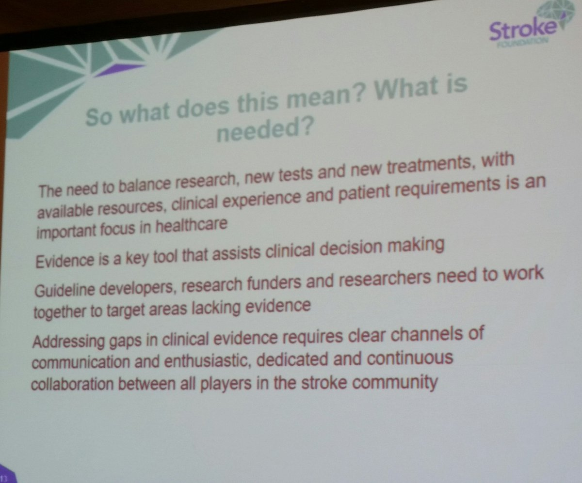 Lack of evidence for some areas of rehab, more research to inform guidelines required @strokefdn #smartstrokes17 @strokeCRE<br>http://pic.twitter.com/liXUeIRqpj