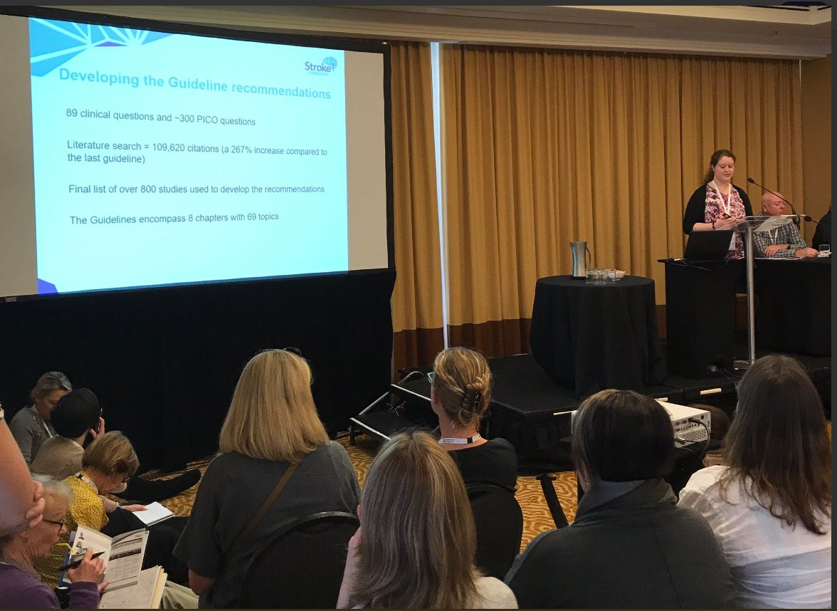 Great to see standing room only at presentation of our Clinical Guidelines at #SMARTSTROKES17 <br>http://pic.twitter.com/PsxLQijnpj