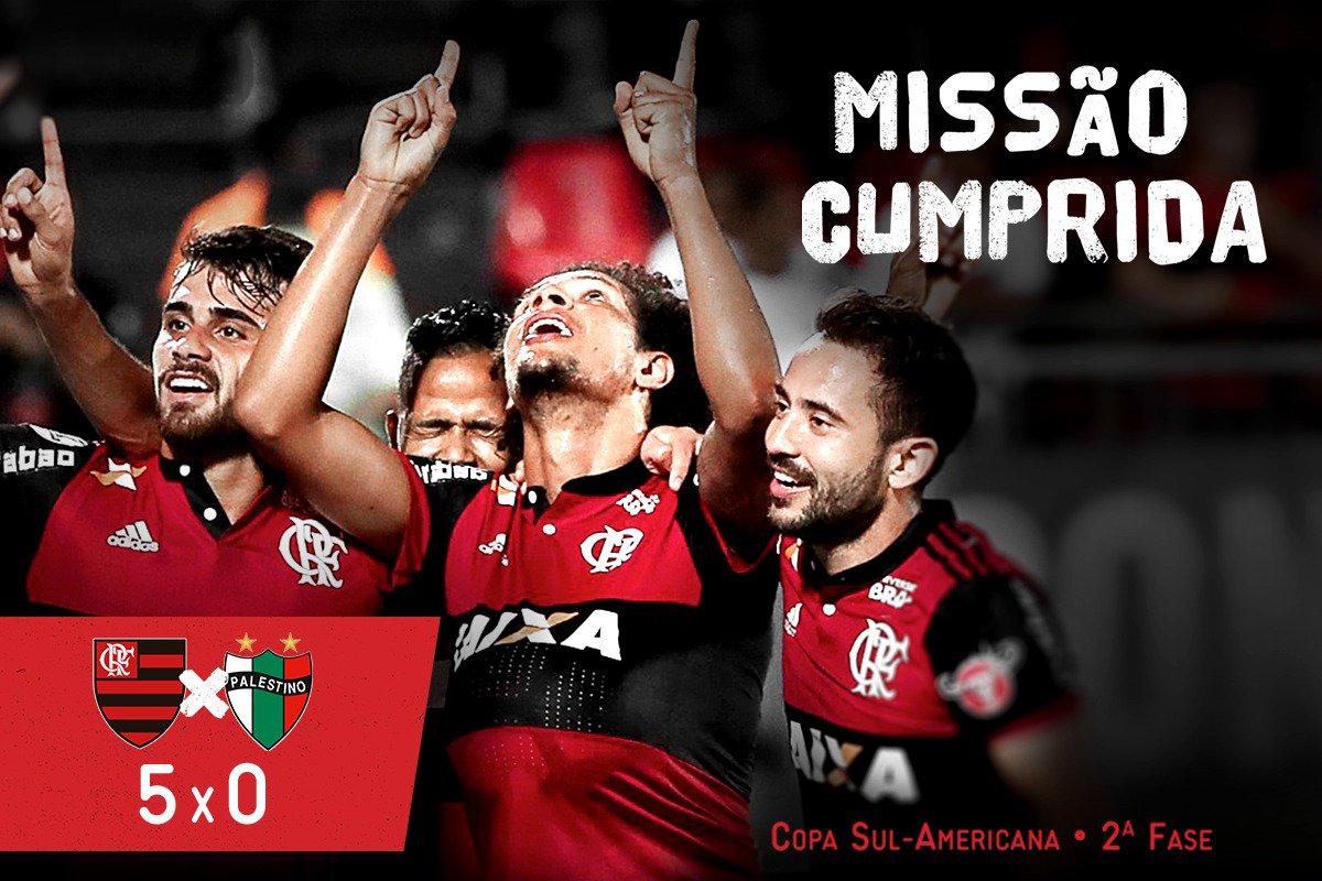 Cinco lá, cinco cá e #MissãoCumprida! Flamengo faz 5x0 (10x2 no agregado), despacha o Palestino e avança na Conmebol Sul-Americana