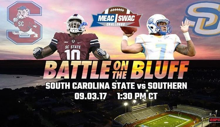 Two HBCUs. Two Teams. Two Bands. One Game! FootballSZN is Here! #BattleOnTheBluff #September3rd #SU #SCSU<br>http://pic.twitter.com/pfGxqLbR8C