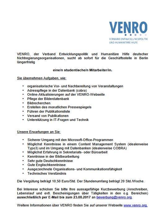 Venro On Twitter Wir Suchen Eine Studentische Hilfskraft In Berlin