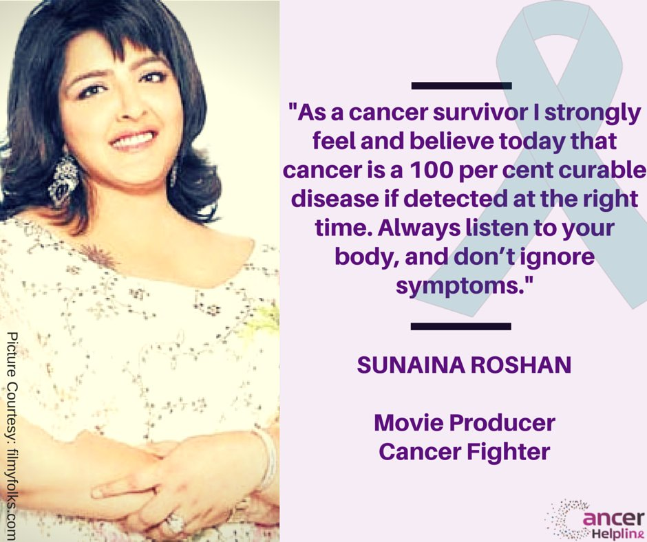 Sunaina Roshan, sister of movie actor Hrithik Roshan is a cervical #CancerSurvivor 9 symptoms you shouldn&#39;t ignore -  http:// bit.ly/2qN3gBN  &nbsp;  <br>http://pic.twitter.com/s6S4AoQqy0