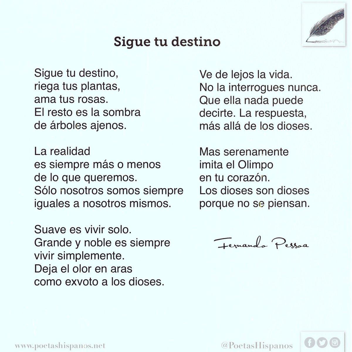 Poetas Hispanos On Twitter Sigue Tu Destino Por Fernando Pessoa