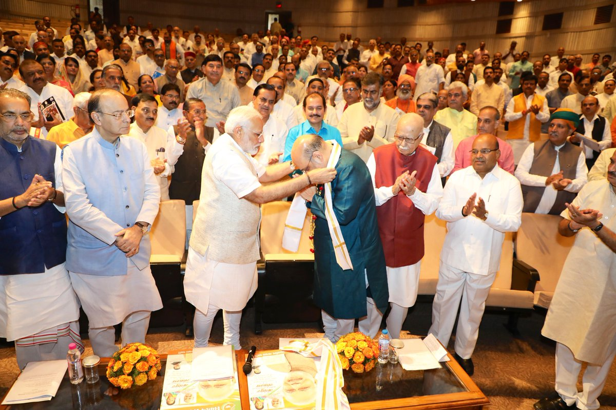 PM @narendramodi felicitates Shri @AmitShah on completing 3 years as @BJP4India President and being elected to Rajya Sabha from Gujarat.