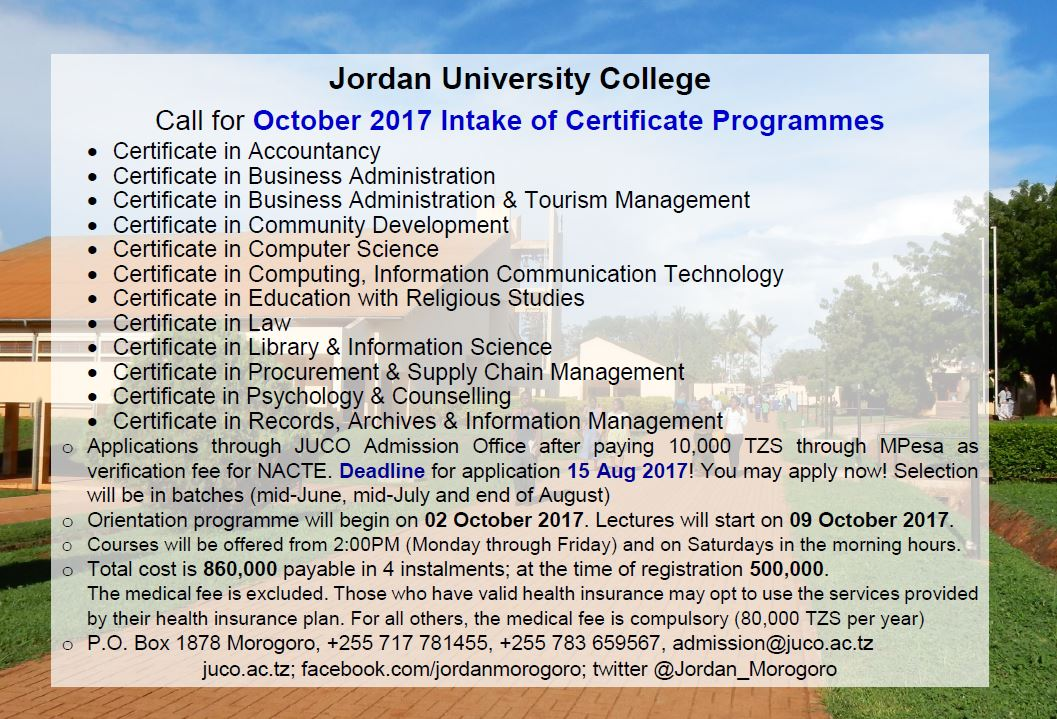 October intake of Certificate Programmes #JUCO #Morogoro #Tanzania #GainWithXtianDela #admission #twitter #certificate #Education<br>http://pic.twitter.com/mr4jsZshtX