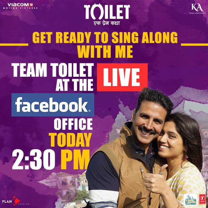 Get ready to sing along with me LIVE today on https://t.co/5iGlUlf4BN at 2.30 pm. Hope to see you all :) @ToiletTheFilm @psbhumi https://t.co/fQtgaGuupu