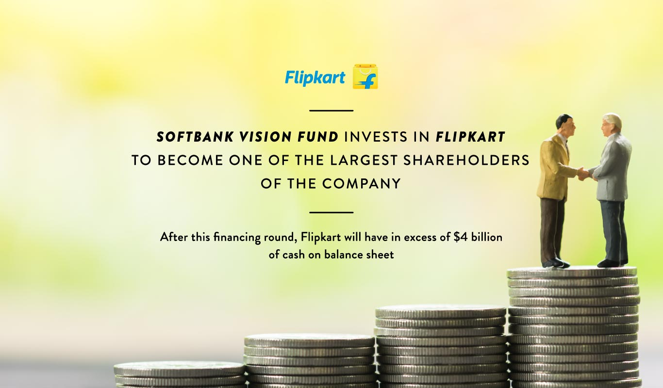 #News: Softbank Vision Fund invests in @Flipkart, becomes one of the largest shareholders in company. Read more: https://t.co/VNV0IYssnu https://t.co/t7GCYT7Bva