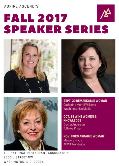 .@AspireAscend helps #WomenLeaders connect at our fall speaker series featuring these remarkable women --&gt;  http:// bit.ly/2u4369o  &nbsp;   #DCevent <br>http://pic.twitter.com/xqy5dN5mfR