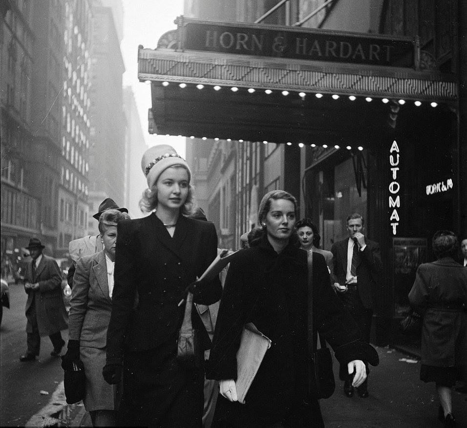 Two young women on the way to the theater, New York City, 1946. Photograph by Stanley Kubrick.