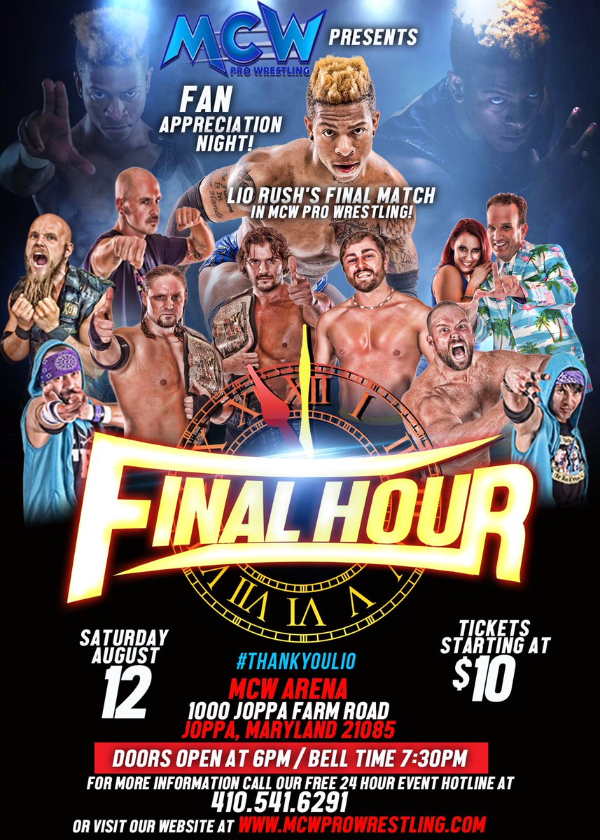 #MCWFinalHour THIS SATURDAY! See @itsLioRush in his final #MCW Appearance &amp; ALL the Stars of #MCW! #FanAppreciation   http:// MCWProWrestling.com  &nbsp;  <br>http://pic.twitter.com/f9kaNh7sLa
