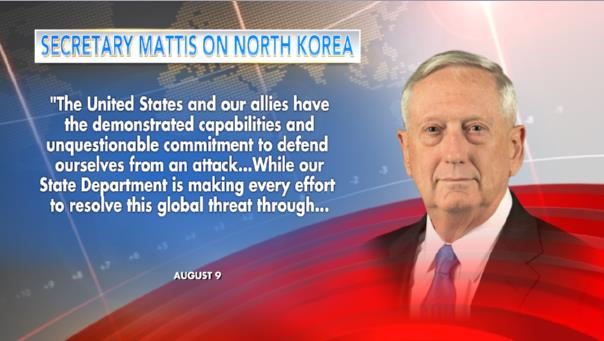 "FOX NEWS ALERT: North Korea responds to U.S. with Guam attack plan as Secretary Mattis warns Kim Jung Un ""he is grossly overmatched"""