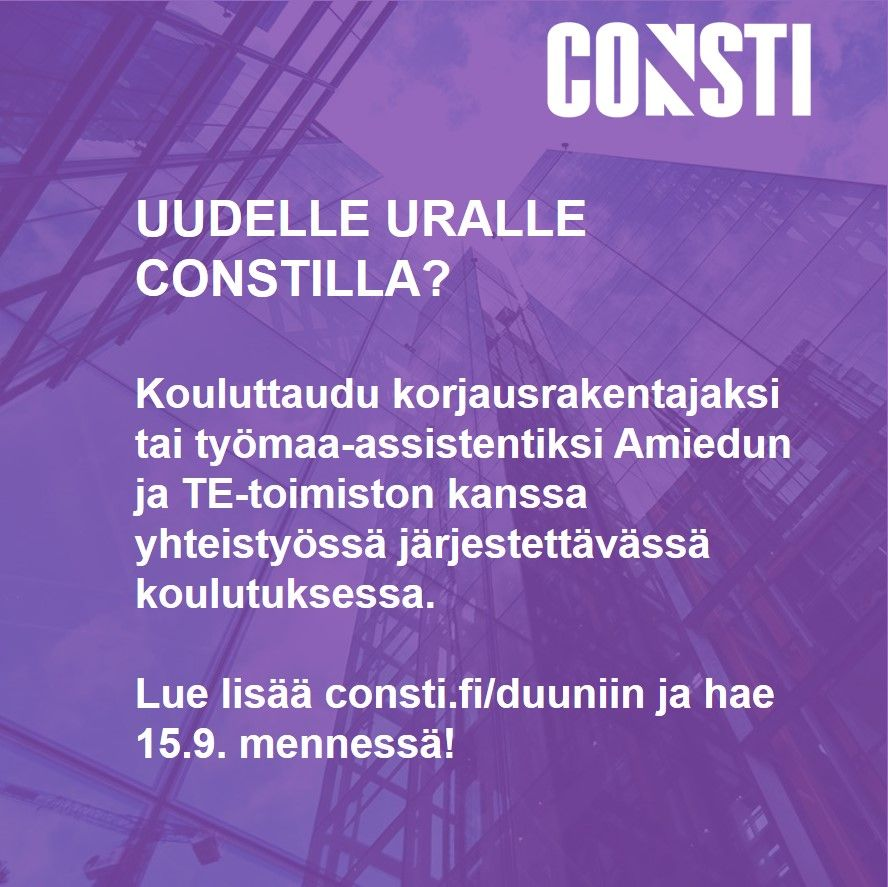 consti Consti is a leading finnish company concentrating on renovation and technical services consti offers comprehensive building technology, pipeline renovation, renovation contracting, façade.