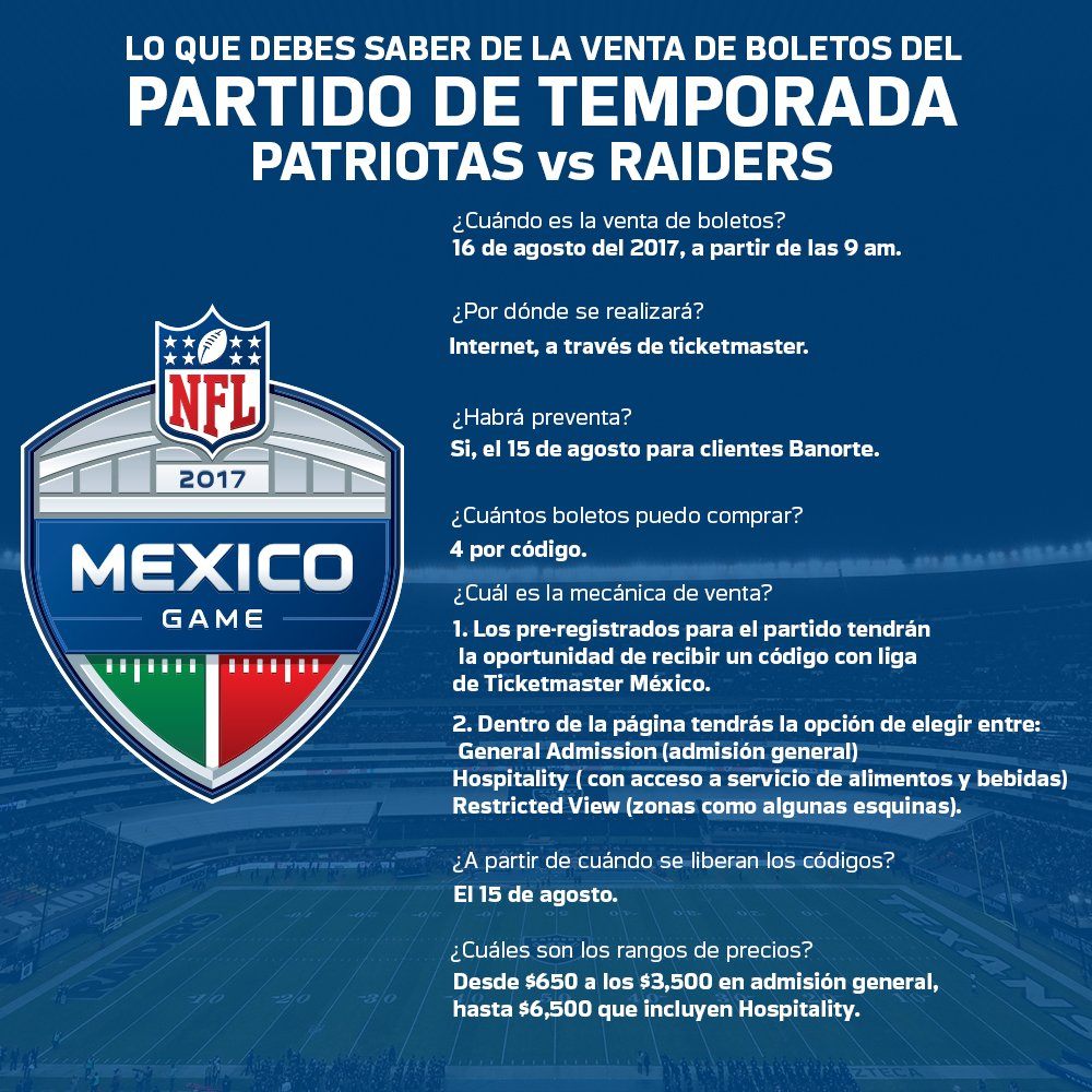 ¡Ya hay fecha para la venta de boletos del partido de #NFLMéxico! Estos son los datos que debes saber. https://t.co/VTjD8Ygcsq