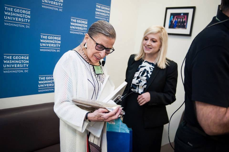 In honor of the 24th anniversary of #RBG being sworn in as a #SCOTUS justice, here&#39;s a photo of me sharing #Constitution swag with her!<br>http://pic.twitter.com/eFXdm6Jxzt