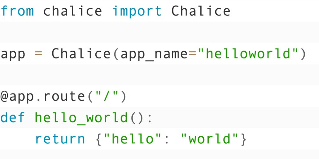 Create a Python Serverless app in minutes with the new 1.0.0 release of Chalice. Learn more on the AWS Dev Blog! http://amzn.to/2umufJy