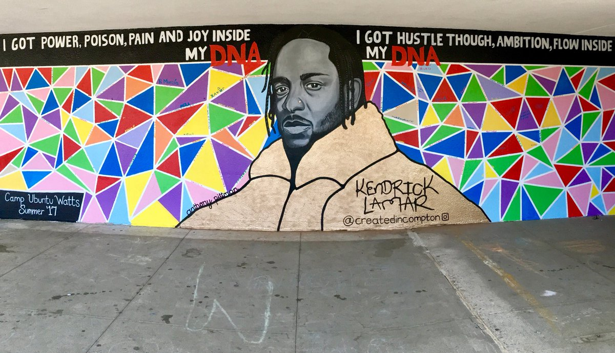 FOR THE HOOD, BY THE HOOD. Mural dedicated to @kendricklamar by Camp Ubuntu Watts, designed by @anthnyxyz #kendricklamar #DAMN @TopDawgEnt<br>http://pic.twitter.com/qgdUNwTSvW &ndash; bij Markham Middle School