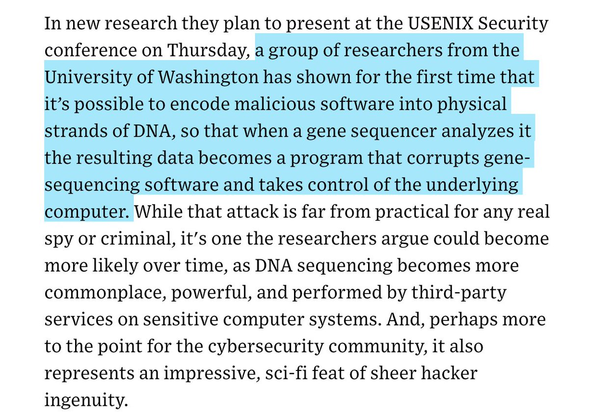 Holy crap. Malware hidden in a strand of DNA hijacks the computer that analyzes that particular gene sequence. wired.com/story/malware-…