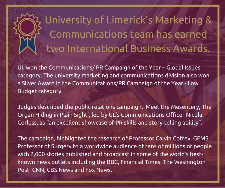 Congrats to @NicolaCorless &amp; @Johncalvincoffe on receiving this recognition. Excellent research combined with excellent PR #ThinkBigAtUL <br>http://pic.twitter.com/pLkJpaXqPb