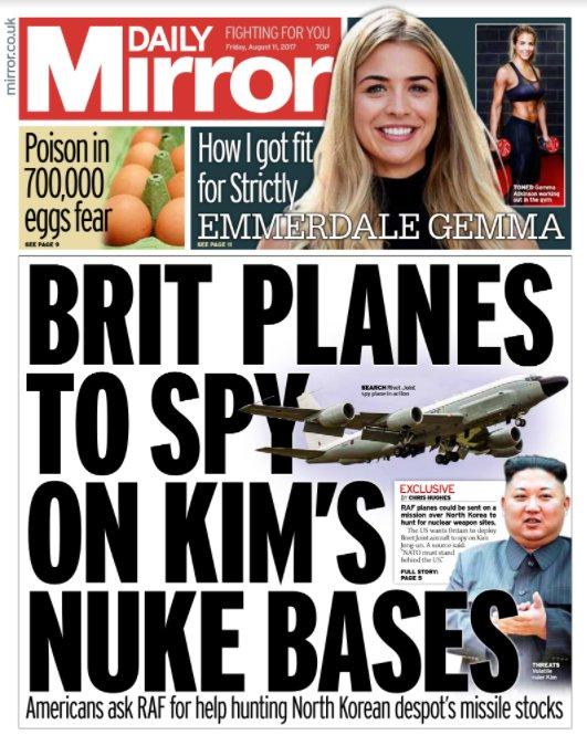 Tomorrow's front page: Brit planes to spy on Kim's nuke base #Tomorrow...