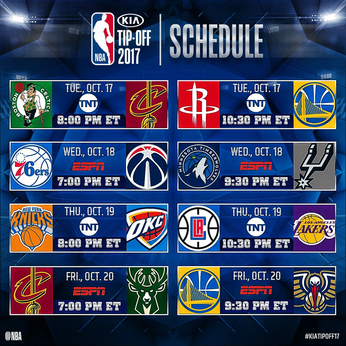 nba on twitter the kiatipoff17 national tv schedule 10 17 bos cle hou gsw 10 18 phi was min sas 10 19 nyk okc lac lal 10 20 cle mil