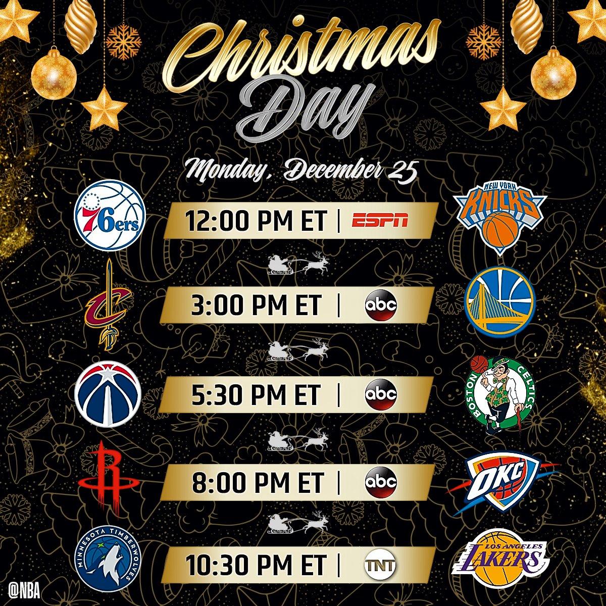 nba on twitter the 2017 nbaxmas day schedule 12et sixersknicks 3et cavswarriors 530et wizardsceltics 8et rocketsthunder 1030et - Nba Christmas Day