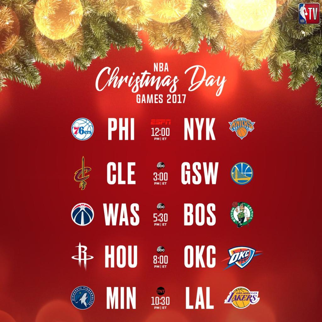 Nba Christmas Day Schedule.Foot Locker On Twitter The Nba Christmas Day Schedule Is