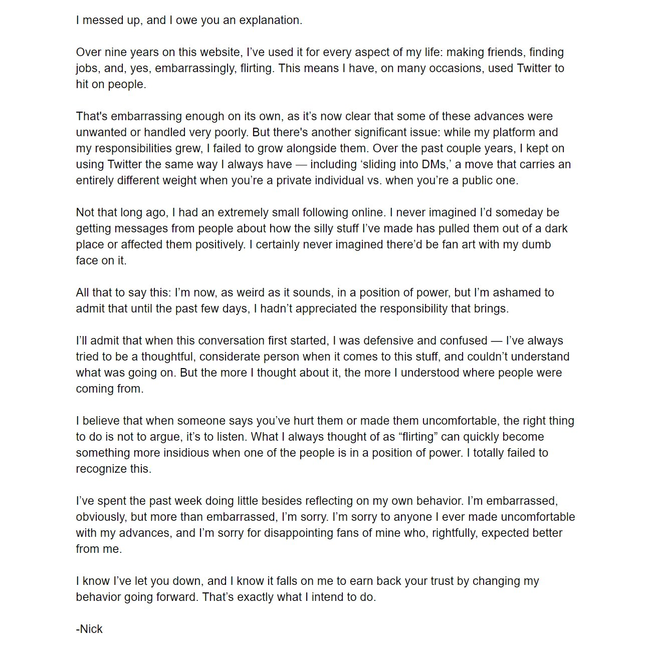 Nick Robinson issued an apology letter regarding the harassment