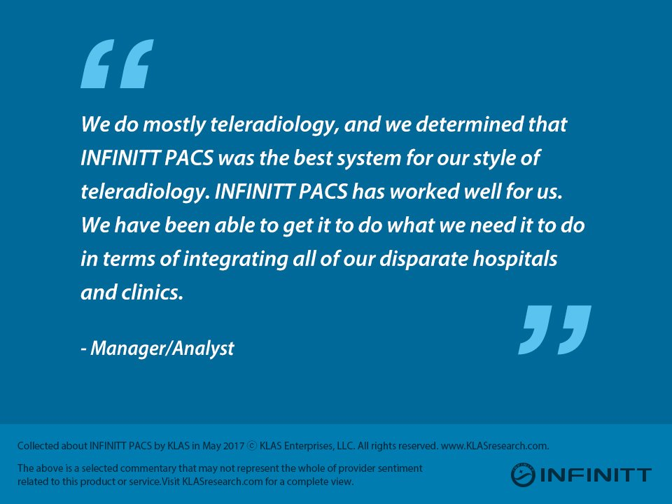 """""""We determined that #INFINITT #PACS was the best system for our style of #teleradiology."""" #KLAS<br>http://pic.twitter.com/ptdAsk2jPe"""