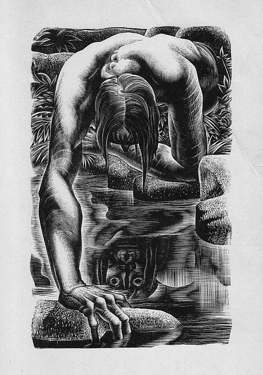 The #monster gazes into a pool. Lynd Ward&#39;s extraordinary engraving for a 1934 #Frankenstein book<br>http://pic.twitter.com/UftOrNZnR1