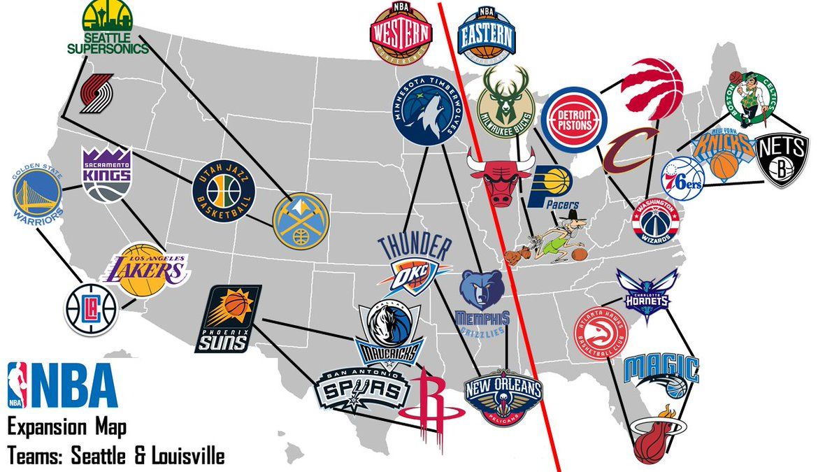 Nba Team Map Of Locations Today Map Of Nba Territorries Map Of - Nba teams map