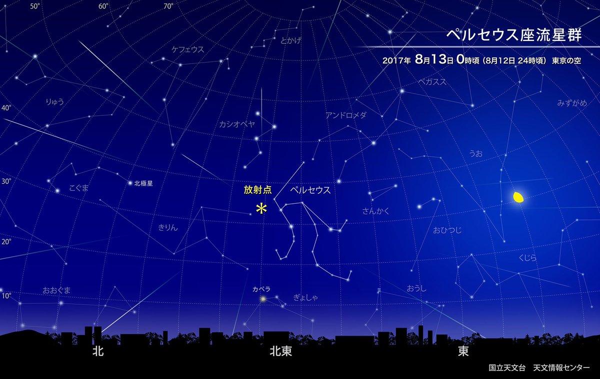 【ほしぞら情報】今年のペルセウス座流星群は8月12日の夜が特に見頃だと予想されます。22時頃から流星…