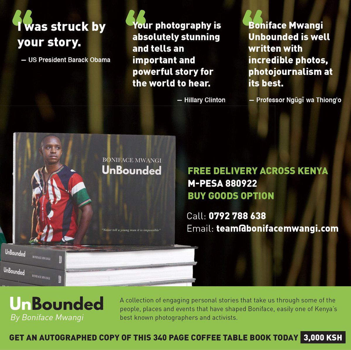 """Boniface Mwangi Unbounded is well written with incredible photos, photojournalism at its best."" - Professor Ngũgĩ wa Thiong'o #BMUnBounded"