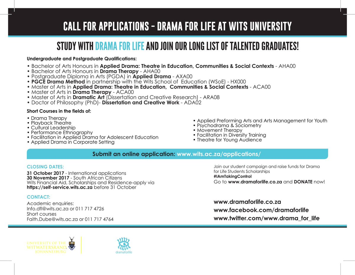 #Applications to study at Drama for Life, @WitsUniversity for 2018 academic year are open. Please RT, our students might be on your timeline<br>http://pic.twitter.com/1nUPod4oPZ