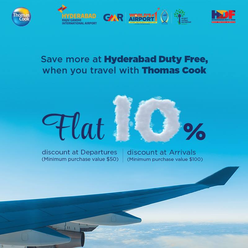 Travel with @tcookin and save.#HDF #thomascook #discount #rgiahyd #gmr #hyderabadairport #worldno1again #FlyTagLess #PassengerisPrime<br>http://pic.twitter.com/BYCaANyA2f
