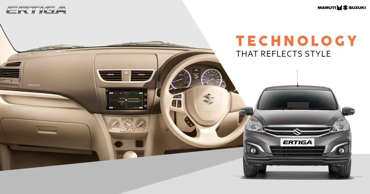 The sleek interior dashboard design of the Maruti Suzuki Ertiga adds a touch of style to your road trip with buddies. #TogetherWithErtiga https://t.co/Z4FM95VMhg