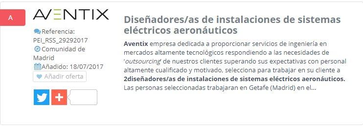 NUEVA OFERTA DE EMPLEO: Diseñadores/as de instalaciones de sistemas eléctricos aeronáuticos--> https://t.co/eHZpvMvAjU https://t.co/KnOm88iFbP