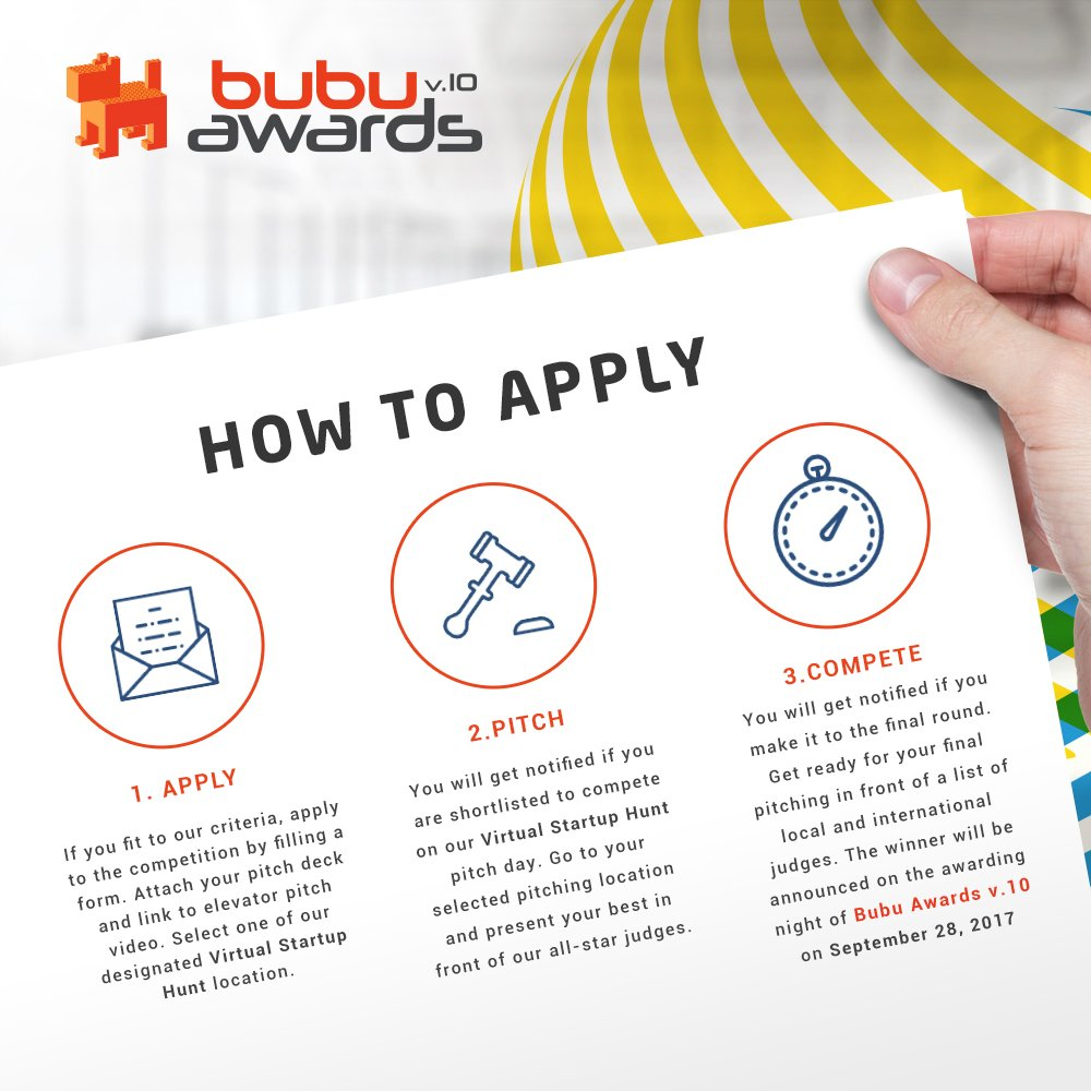 This is T&amp;C of BUBU Awards v.10 Virtual Startup Hunt. Pin it and we wait for your best creation!  http:// id-byte.com / &nbsp;   :) #IDByte2017 <br>http://pic.twitter.com/BMrSkna3Eq