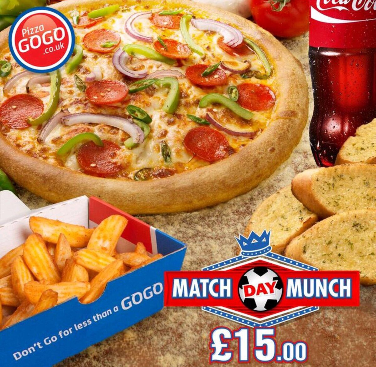 pizza gogo pizzagogo twitter match day munch any large pizza potato wedges garlic bread bottle of soft drink all for only 15 http www pizzagogo co uk menu special offers