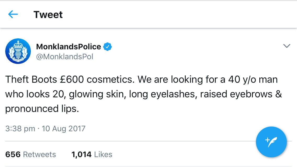 Love it when a police force shows us all how you do social media. Well done @MonklandsPol  #SeriousFoundation https://t.co/fEuLqMCdE1