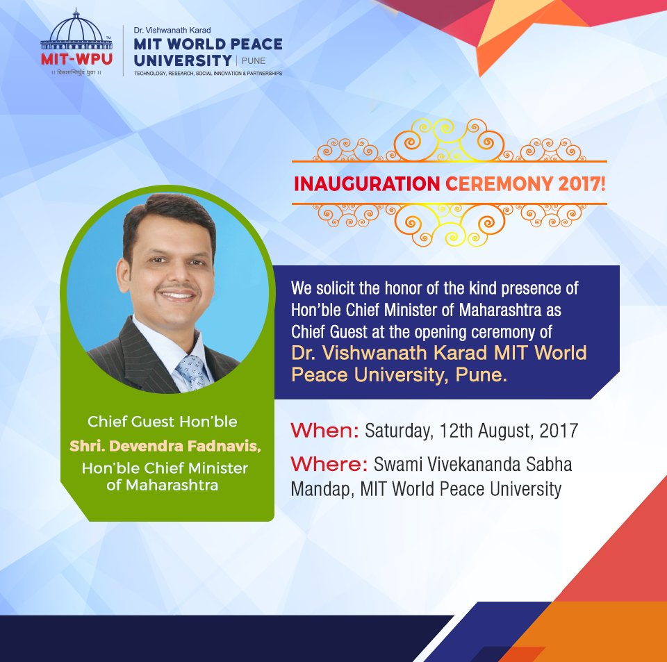 @MITWPU looks forward to welcoming the Honourable Chief Minister of #Maharashtra, Shri @Dev_Fadnavis in the #MITWPU Inauguration Ceremony.<br>http://pic.twitter.com/uO2IDQQlJH