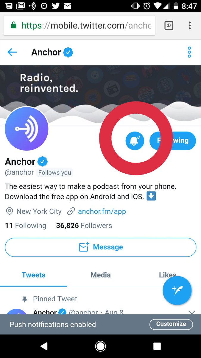 Anchor on Twitter: