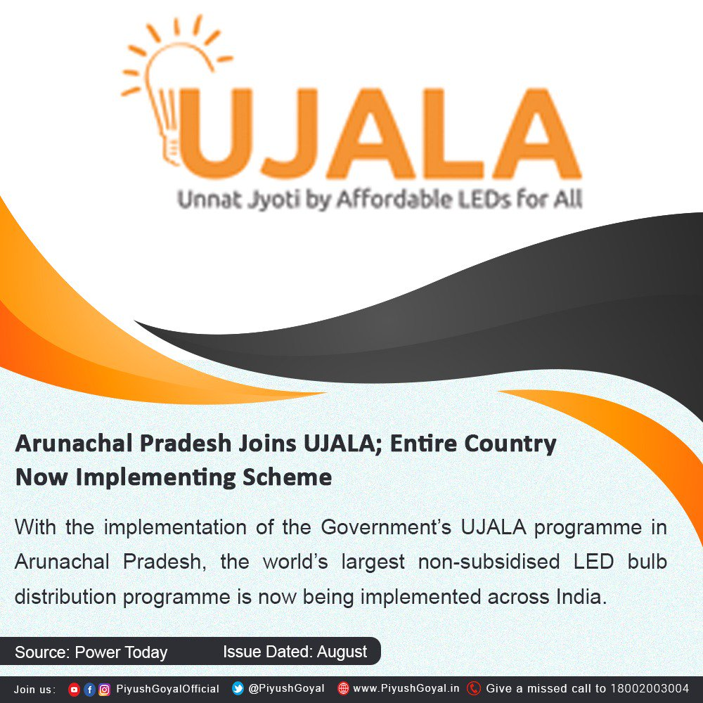 Congratulations to Shri @CMPemaKhandu on joining UJALA, to light up the lives of the people of Arunachal Pradesh. https://t.co/VhNAUhPCTZ