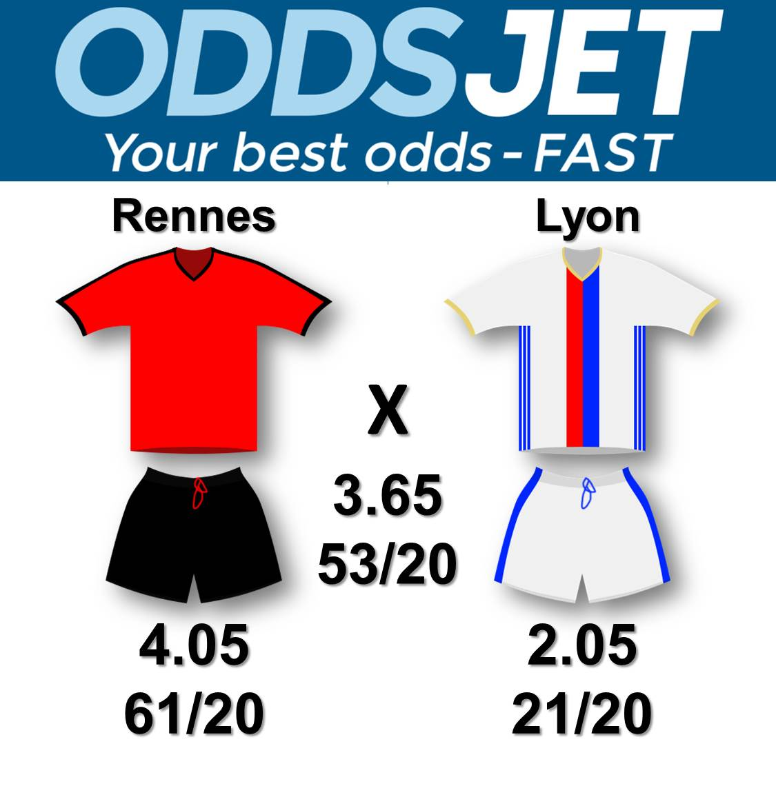 #Ligue1 #SRFC #OL #Rennes vs #Lyon Get your best odds - fast at  https:// oddsjet.com  &nbsp;  <br>http://pic.twitter.com/l2SOeNEEDJ