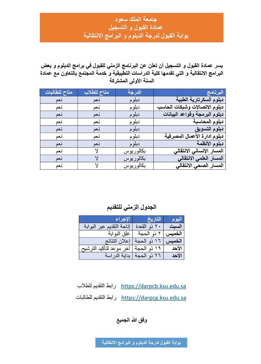 دبلومات جامعة الملك سعود