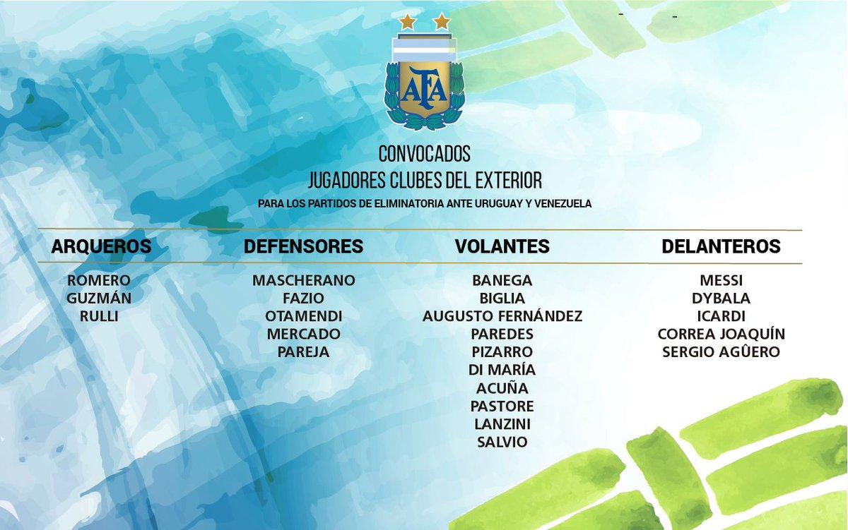 Convocação de Sampaoli para os jogos contra Uruguai e Venezuela.
