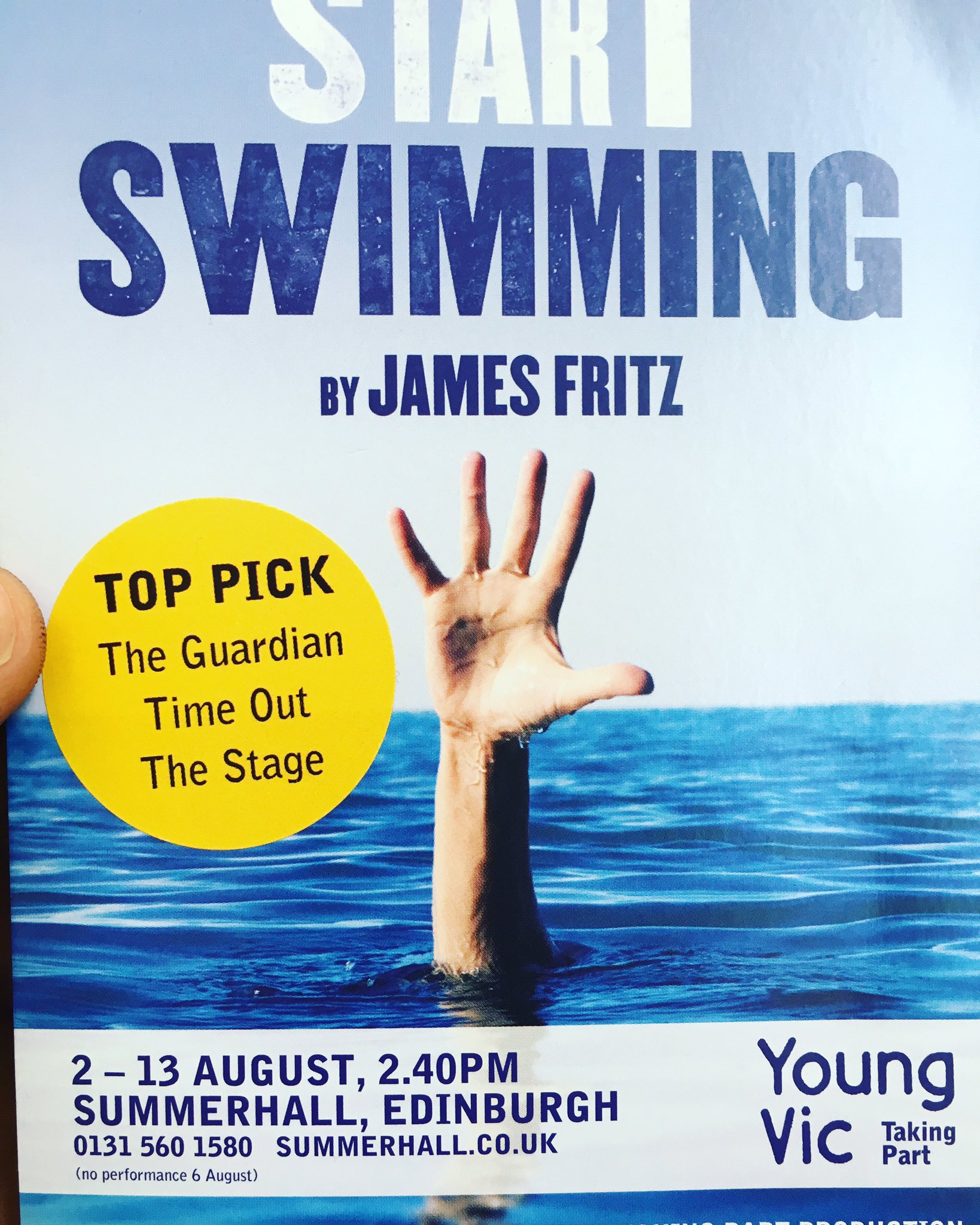 Loved #StartSwimming by James Fritz & @youngvictheatre Taking Part @edintfest. Wonderful writing fully deserved @TimeOut @TheStage top picks https://t.co/SOVHljLF8R