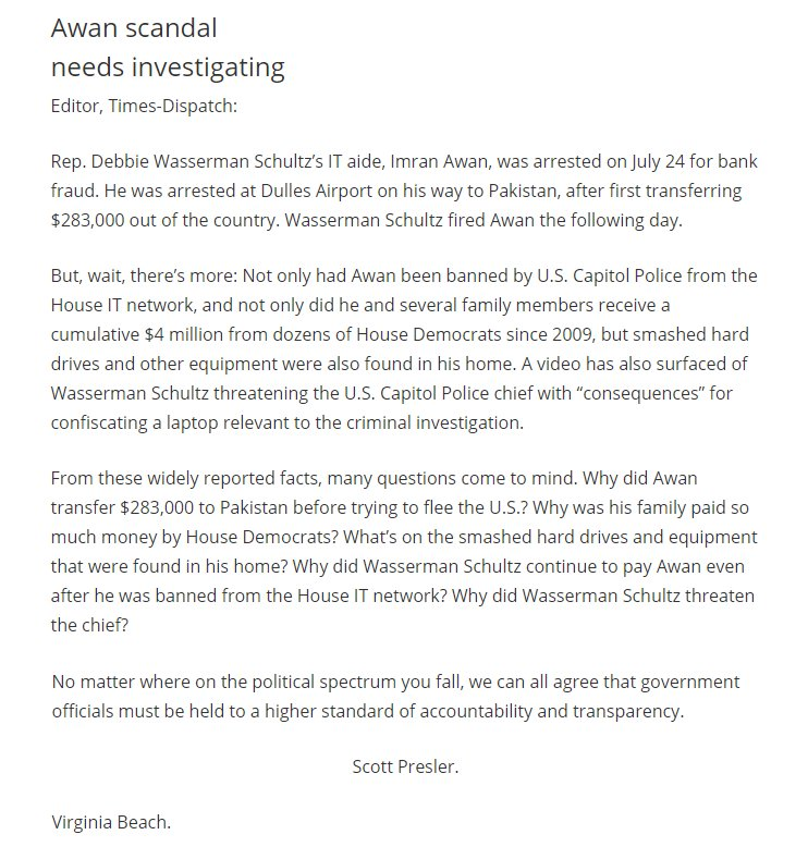 I&#39;m not going to stop shining light on Debbie Wasserman Schultz &amp; #ImranAwan scandal. I&#39;ve even had a letter published.  #FlashbackFriday <br>http://pic.twitter.com/LUHRzAw1KX